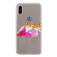 Недорогие Кейсы для iPhone 8 Plus-Кейс для Назначение Apple iPhone X iPhone 8 IMD Прозрачный С узором Кейс на заднюю панель Кот Мягкий ТПУ для iPhone X iPhone 8 Pluss