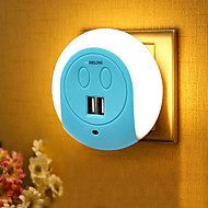 お買い得  -BRELONG® 1個 ウォールプラグ夜光 Smart 自動タイプ デュアルl USB US 電話充電器 ベッドサイド ライトコントロール