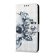 Недорогие Чехлы и кейсы для Galaxy А-Кейс для Назначение SSamsung Galaxy A8 Plus 2018 / A8 2018 Бумажник для карт / со стендом / Флип Чехол Черепа Твердый Кожа PU для A8 2018 / A8+ 2018