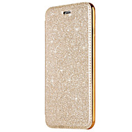 cheap Apple Accessories-Case For Apple iPhone X iPhone 8 Card Holder Plating Flip Full Body Cases Solid Color Glitter Shine Hard PU Leather for iPhone X iPhone 8