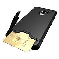 Недорогие Чехлы и кейсы для Galaxy A3(2017)-Кейс для Назначение Samsung A8 2018 A8 Plus 2018 Бумажник для карт Защита от удара со стендом Кейс на заднюю панель Сплошной цвет Твердый