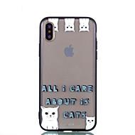 Недорогие Кейсы для iPhone 8 Plus-Кейс для Назначение Apple iPhone X iPhone 8 Plus Прозрачный С узором Кейс на заднюю панель Кот Твердый Акрил для iPhone X iPhone 8 Pluss