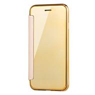 Недорогие Кейсы для iPhone 8 Plus-Кейс для Назначение Apple iPhone X iPhone 8 с окошком Покрытие Зеркальная поверхность Флип Прозрачный Чехол Сплошной цвет Прозрачный
