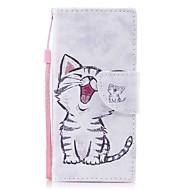 お買い得  携帯電話ケース-ケース 用途 Sony ソニーのXperia XA Xperia XZ1 Compact Xperia XZ1 カードホルダー ウォレット スタンド付き フリップ 磁石バックル パターン フルボディーケース 猫 ハード PUレザー のために Xperia XZ1