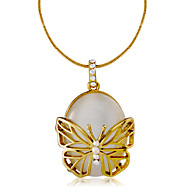Women's Butterfly Lovely Fashion Pendant Necklace Cubic Zirconia Synthetic Opal Zircon Gold Plated Opal Pendant Necklace , Daily Formal