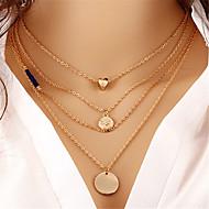 여성용 레이어드 계층화 된 목걸이 - 하트 숙녀, 패션, 멀티 레이어 골드 목걸이 보석류 2 제품 선물, 거리