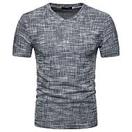Men's Daily Basic / Street chic Slim T-shirt - Solid Colored V Neck Brown L / Short Sleeve / Spring / Summer