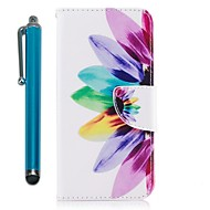 Недорогие Чехлы и кейсы для Galaxy A3(2016)-Кейс для Назначение Samsung A8 2018 A5(2017) Кошелек Бумажник для карт со стендом Флип Магнитный Чехол Цветы Твердый Кожа PU для A3