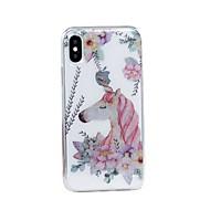 Недорогие Кейсы для iPhone-Кейс для Назначение Apple iPhone X iPhone 8 Plus IMD С узором Сияние и блеск Кейс на заднюю панель единорогом Мягкий ТПУ для iPhone X