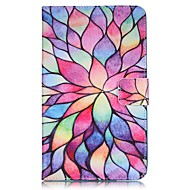 Недорогие Чехлы и кейсы для Galaxy Tab 4 7.0-Кейс для Назначение SSamsung Galaxy Tab 4 7.0 Бумажник для карт Кошелек со стендом С узором Авто Режим сна / Пробуждение Чехол Цветы