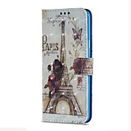 Недорогие Чехлы и кейсы для Galaxy S8-Кейс для Назначение SSamsung Galaxy S9 S9 Plus Бумажник для карт Кошелек со стендом Флип Магнитный Чехол Эйфелева башня Твердый Кожа PU