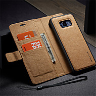Недорогие Чехлы и кейсы для Galaxy S7-Кейс для Назначение SSamsung Galaxy S8 Plus S7 edge Бумажник для карт Кошелек со стендом Флип Своими руками Чехол Сплошной цвет Твердый
