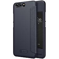 お買い得  携帯電話ケース-ケース 用途 Huawei P10 Plus P10 ウィンドウ付き フリップ つや消し オートスリープ/ウェイクアップ フルボディーケース 純色 ハード PUレザー のために P10 Plus P10
