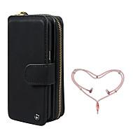 Недорогие Чехлы и кейсы для Galaxy Note-Кейс для Назначение SSamsung Galaxy Note 8 Бумажник для карт Кошелек Защита от удара со стендом Чехол Сплошной цвет Твердый Кожа PU для