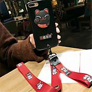 Недорогие Кейсы для iPhone 8 Plus-Кейс для Назначение Apple iPhone 6 Plus iPhone 7 Plus С узором Кейс на заднюю панель Кот Твердый Кожа PU для iPhone 8 Pluss iPhone 8