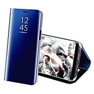 Недорогие Чехлы и кейсы для Galaxy S9-Кейс для Назначение SSamsung Galaxy S9 S9 Plus со стендом Покрытие Зеркальная поверхность Чехол Однотонный Твердый Кожа PU для S9 Plus S9