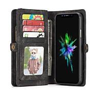 Недорогие Кейсы для iPhone 8-Кейс для Назначение Apple iPhone X / iPhone 8 / iPhone XS Кошелек / Бумажник для карт / Флип Чехол Сплошной цвет Твердый Настоящая кожа для iPhone XS / iPhone XR / iPhone XS Max