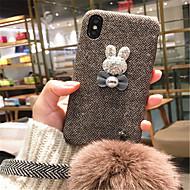 Недорогие Кейсы для iPhone 8 Plus-Кейс для Назначение Apple iPhone X iPhone 7 Plus С узором Кейс на заднюю панель 3D в мультяшном стиле Твердый текстильный для iPhone X