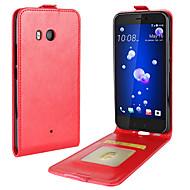 お買い得  携帯電話ケース-ケース 用途 HTC U11 Life U11 カードホルダー フリップ フルボディーケース 純色 ソフト PUレザー のために HTC U11 HTC U11 Life HTC U11 plus
