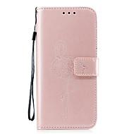 Недорогие Чехлы и кейсы для Galaxy S7-Кейс для Назначение SSamsung Galaxy S8 Plus S8 Бумажник для карт Кошелек со стендом С узором Рельефный Чехол Сплошной цвет Фламинго