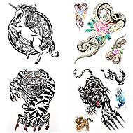 cheap Temporary Tattoos-4 pcs Tattoo Stickers Temporary Tattoos Animal Series Waterproof Body Arts Body / Arm