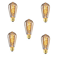 abordables Bombillas Incandescentes-5pcs 40W E26 / E27 ST64 Blanco Cálido 2300k Retro Regulable Decorativa Bombilla incandescente Vintage Edison 220-240V