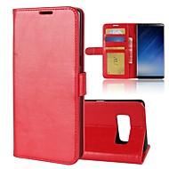 Недорогие Чехлы и кейсы для Galaxy Note-Кейс для Назначение SSamsung Galaxy Note 8 Бумажник для карт Кошелек со стендом Флип Магнитный Чехол Однотонный Твердый Кожа PU для Note 8