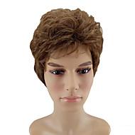 Недорогие Парики-Искусственные волосы парики Кудрявый Природные волосы Стрижка каскад Без шапочки-основы Парик из натуральных волос Короткие Коричневый