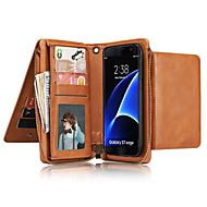 Недорогие Чехлы и кейсы для Galaxy Note-Кейс для Назначение SSamsung Galaxy Note 8 Note 5 Бумажник для карт Кошелек Чехол Сплошной цвет Твердый Настоящая кожа для Note 8 Note 5