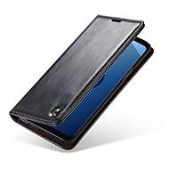 Недорогие Чехлы и кейсы для Galaxy S8 Plus-Кейс для Назначение SSamsung Galaxy S9 S9 Plus Бумажник для карт Кошелек со стендом Чехол Однотонный Твердый Настоящая кожа для S9 Plus