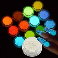 halpa Meikki & kynsienhoito-12kpl Akryylijauhe / Glitter-jauhe / Nail Glitter Kimmaltava ja hohtava / Pimeässä hohtava Nail Art Design