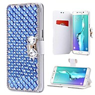 cheap Galaxy Note Series Cases / Covers-Case For Samsung Galaxy Note 8 Note 5 Card Holder Rhinestone with Stand Flip Full Body Cases Solid Colored Hard PU Leather for Note 8