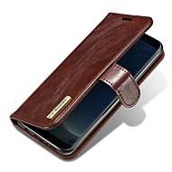 Недорогие Чехлы и кейсы для Galaxy S7-Кейс для Назначение SSamsung Galaxy S9 S9 Plus Бумажник для карт Флип Магнитный Чехол Однотонный Твердый Настоящая кожа для S9 Plus S9 S8