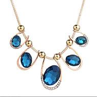 preiswerte -Damen Zirkon Halsketten  -  Retro Geometrische Form Blau 50cm Modische Halsketten Für Party Ausgehen