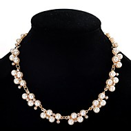 Dame Perle Uttalelse Halskjeder Perlekjede Perle Fuskediamant damer søt stil Hvit 40+5 cm Halskjeder Smykker Til Fest