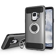 Недорогие Чехлы и кейсы для Galaxy S8-Кейс для Назначение SSamsung Galaxy S9 S9 Plus Защита от удара Кольца-держатели броня Кейс на заднюю панель Однотонный Твердый ПК для S9