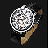 お買い得  -ASJ 男性用 リストウォッチ 機械式時計 自動巻き 透かし加工 レザー バンド ハンズ ぜいたく ファッション ブラック - シルバー