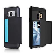fodral Till Samsung Galaxy S9 Plus / S9 Korthållare Skal Enfärgad Hårt PC för S9 / S9 Plus / S8 Plus