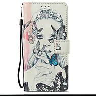 Недорогие Чехлы и кейсы для Galaxy S9-Кейс для Назначение SSamsung Galaxy S9 S9 Plus Бумажник для карт со стендом Флип Магнитный С узором Чехол Бабочка Соблазнительная девушка