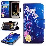 ケース 用途 Samsung Galaxy J7(2017) / J2 PRO 2018 ウォレット / カードホルダー / スタンド付き フルボディーケース バタフライ ハード PUレザー のために J7 (2017) / J5 (2017) / J5 (2016)
