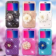Недорогие Чехлы и кейсы для Galaxy Note 8-Кейс для Назначение SSamsung Galaxy Note 8 / Note 5 Бумажник для карт / Стразы / со стендом Чехол Геометрический рисунок / Цветы Твердый