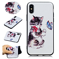 Недорогие Кейсы для iPhone 8-Кейс для Назначение Apple iPhone X / iPhone 8 Plus С узором Кейс на заднюю панель Кот / Бабочка Мягкий ТПУ для iPhone X / iPhone 8 Pluss