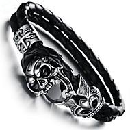 お買い得  -キュービックジルコニア バングル - スカル ヴィンテージ ブレスレット ブラック 用途 贈り物 / 日常