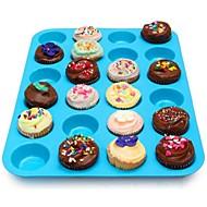 お買い得  キッチン用小物-24キャビティシリコンマフィンカップケーキ型パンベーキングトレイケーキ型