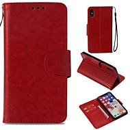Недорогие Кейсы для iPhone 8-Кейс для Назначение Apple iPhone X / iPhone 8 Бумажник для карт / Кошелек / Магнитный Чехол Однотонный Твердый Кожа PU для iPhone X /