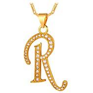 お買い得  -男性用 キュービックジルコニア ペンダントネックレス  -  アルファベット, レタード ファッション ゴールド, シルバー 55 cm ネックレス 用途 贈り物, 日常
