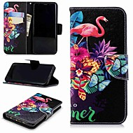 Недорогие Чехлы и кейсы для Galaxy S9-Кейс для Назначение SSamsung Galaxy S9 Plus / S8 Кошелек / Бумажник для карт / со стендом Чехол Фламинго Твердый Кожа PU для S9 / S8 Plus