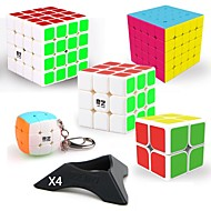 cheap Educational Toys-9 pcs Magic Cube IQ Cube QIYI QIYI-A Pyramorphix Alien Mini 2*2*2 3*3*3 4*4*4 Smooth Speed Cube Magic Cube Puzzle Cube Smooth Sticker Professional Level Gaming Teen Adults' Toy All Boys' Girls' Gift