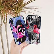 Недорогие Кейсы для iPhone 8 Plus-Кейс для Назначение Apple iPhone X / iPhone 8 С узором Кейс на заднюю панель Фламинго Твердый Закаленное стекло для iPhone X / iPhone 8 Pluss / iPhone 8
