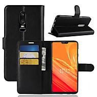 お買い得  携帯電話ケース-ケース 用途 OnePlus OnePlus 6 / OnePlus 5T カードホルダー / ウォレット / フリップ フルボディーケース ソリッド ハード PUレザー のために OnePlus 6 / One Plus 5 / OnePlus 5T